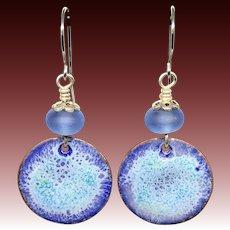 Rustic Blue Enamel Lampwork Glass Earrings