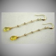 14K Solid Gold~Yellow Beryl & Champagne Diamond earrings