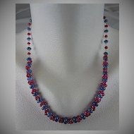 """Solid 18K Gold~ AAA Periwinkle blue Tanzanite & Pink Sapphire """"Cluster"""" necklace"""