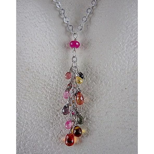 14k white gold multi color natural sapphire necklace for Natural multi colored roses