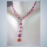 18K & 14K Solid Gold~ AAA Raspberry Sapphires & Mandarin Garnet Necklace~ new!