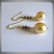 18K Solid Gold~ AAA Golden South Sea Pearls & Diamond Earrings~one pair only!