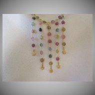 """14k /18K Solid Gold~ AAA Multi-color Tourmaline """"bib"""" Necklace~2014"""
