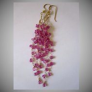 """18K Solid Gold~AAA+ Pink Sapphire """"Cascade"""" Earrings~ 3.5""""~only one pair"""