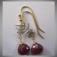 18K Solid Gold~Red Ruby & Wild Saltwater Keishi Pearl Earrings~2014