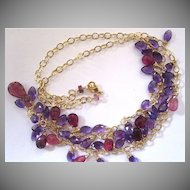 "14K Solid Gold~ AAA Pink Tourmaline & African Amethyst ""FRINGE"" necklace~2014"