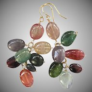 14K Solid Gold~ AA Tourmaline multi-color Earrings~ gorgeous, natural colors