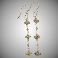 "14K Solid Gold~ Champagne Diamond ""Daisy Chain"" Earrings~ 2.25"""