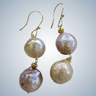 """14K/18K Solid Gold~ Genuine Japanese Kasumi Pearl """"Double Happiness"""" Earrings~"""