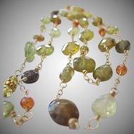 18K Solid Gold~ AA Grossular Garnet Long necklace~ New!