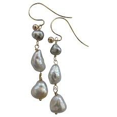 18k Solid Gold~AAA South Sea Keishi & Tahitian Keishi Pearl Earrings~ One of a kind