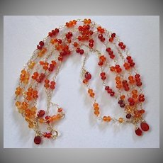 18K Solid Gold~ AAA Mexican Fire Opal Necklace~Long 4ft Flapper Necklace~Gorgeous deep orange shades