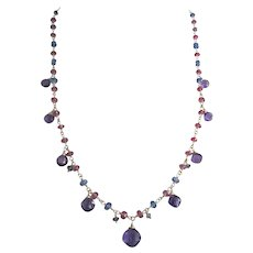 """18K Solid Gold~ AAA Rose Sapphires, Kyanite, Iolite, and African Amethyst """"Guinevere"""" Necklace~ only one!"""