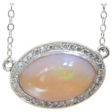 14K Solid Gold~AAA Mexican Fire Opal & Diamond Halo Necklace~One of a kind