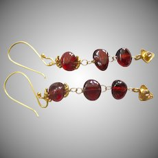 """18K Solid Gold~ AAA Pyrope Red Garnet & Diamond Earrings~ Only one pair! NEW!! 2"""""""