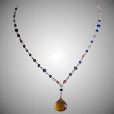 "18K Solid Gold~ AA Madiera Citrine Drop Necklace w/ Kyanite & Pink Tourmaline~ 16"" in length~ Only One!!"
