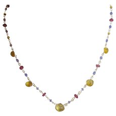 "18K Solid Gold~ AAA Tanzanite, Pink Sapphire & Imperial Topaz Necklace~18"" adjustable"