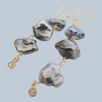 18K Tahitian Keishi Pearls & Rose cut Diamonds~ Gorgeous!