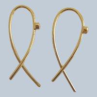 """18K Solid Gold~ New rose cut Diamond """"Ribbon"""" Earrings ~simply beautiful"""