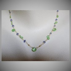 "18K Solid Gold~Grass Green Tsavorite & Tanzanite ""droplet"" Necklace"