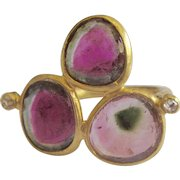 """18K Solid Gold~ STUNNING AAA Watermelon Tourmaline & Diamond """"Triple Delight"""" Ring~ Only ONE!!"""