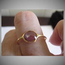 18K solid Gold rose cut Purple Spinel stacking ring~ One of a kind