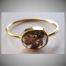 18K Solid Gold~ .75 ct. Brown/red rose cut rustic Diamond ring~ size 7