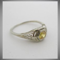 18K White Gold Art Deco size 6.5 Ring w/ lab created yellow sapphire 20's style