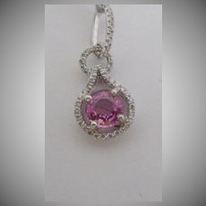 14K Solid White Gold Pendant necklace w/ pink sapphire and tiny diamond halo