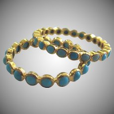 18k Solid Gold~ Sleeping Beauty Turquoise Stack ETERNITY rings.. set of 2 only size 7