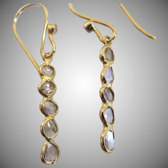 """18K Solid Gold~ Diamond slice, """"linear"""" earrings~.50 CTS SI1"""