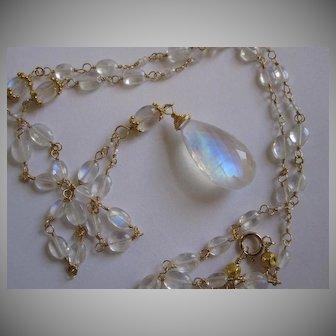 "18K Solid Gold~  AAA Ceylon Moonstone big drop Necklace 24"""