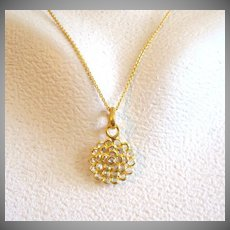 "18K Solid Gold~ VS1 Rose Cut Diamond ""Lotus"" Necklace~ 18-19"" adjustable"
