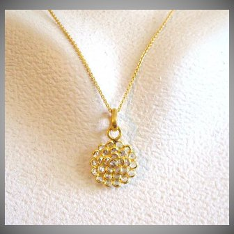 "18K Solid Gold~ VS1 Rose Cut Diamond ""Lotus"" Necklace~ 18-19"" adjustable"