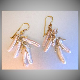 """18K Solid Gold~ Peachy Pink Biwa Stick Pearl """"Lucky"""" Earrings~ Stunning!!"""