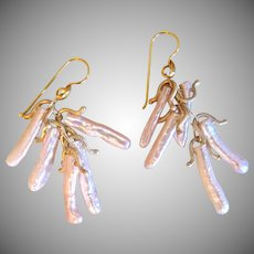 "18K Solid Gold~ Peachy Pink Biwa Stick Pearl ""Lucky"" Earrings~ Stunning!!"