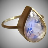 18K Solid Gold~One-of-a-kind~  AAA Ceylon Moonstone blue flash Tear drop Ring~ size 7 sizable