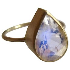 18K Solid Gold~One-of-a-kind~  AAA Ceylon Moonstone blue flash Tear drop Ring~ size 7 sizable - Red Tag Sale Item
