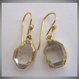 Brand New 18K Herkimer Diamond Earrings, bezel set in 18K solid gold~ 2017 collection