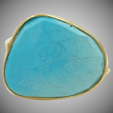 18K Solid Gold~One-of-a-kind~  AAA Sleeping Beauty (large) 10 ct Natural Turquoise Ring~  Size 6