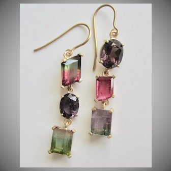 """14K Solid Gold~ Tourmaline """"juxtaposition"""" earrings in all the Shades of Tourmaline   One of a kind"""