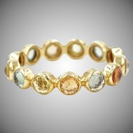 18K Solid Gold~ AAA Thai Sapphire Eternity Rings Size 6 only