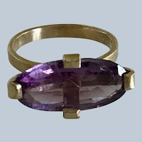 18k Solid  Gold AAA purple tourmaline 5.6 cts only one! Size 6.5