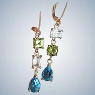 "14K Solid Gold~ AAA Peridot, Aquamarine & blue Topaz ""Juxtaposed"" Earrings"