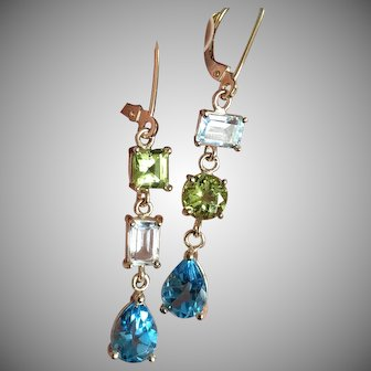 "14K Solid Gold~ AAA Peridot, Aquamarine & blue Topaz ""Juxtaposed"" Earrings"