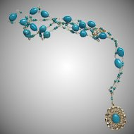 "18K Solid Gold~AAA Sleeping Beauty Turquoise & Diamond ""GODDESS"" necklace 22"" One only"