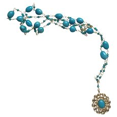 """18K Solid Gold~AAA Sleeping Beauty Turquoise & Diamond """"GODDESS"""" necklace 22"""" One only"""