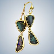 New~ 18K Gold~ Solid Australian Boulder Opal one-of-a-kind Earrings~ GORGEOUS