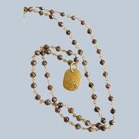 New~ 18K Gold~Cognac Diamond Necklace with Dogtag Pendant~13.9 Ct. Dia