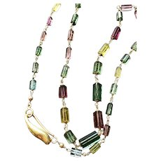 New~ 18K Gold~ Natural AAA Multi-Color Tourmaline crystal tube Necklace and Earring set~ One Only